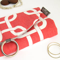 Travel Jewelry Case - Modern Chain Links in Coral and White