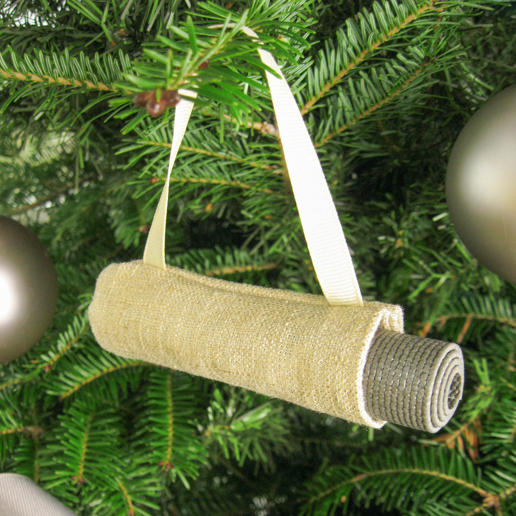 Ornaments - Yoga Christmas Tree Ornament - Metallic Gold Linen - effie handmade
