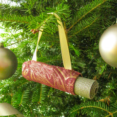 Ornaments - Christmas Ornament for Yoga Lover  - Burgundy & Bronze Paisley - effie handmade