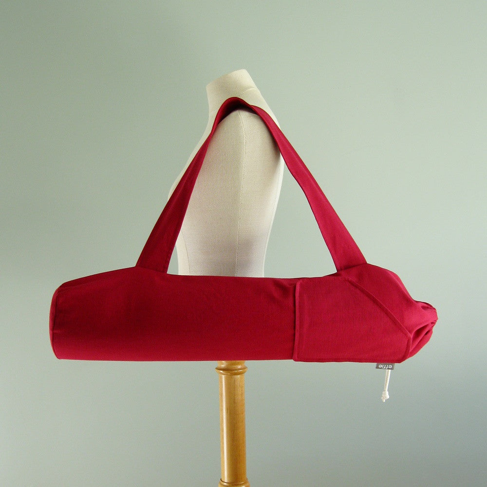 Handmade yoga mat bag modern solid red man woman by effie handmade in Halifax, NS