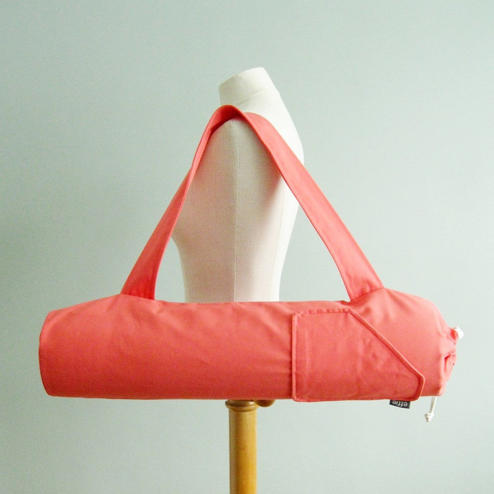 Handmade yoga mat bag solid coral by effie handmade