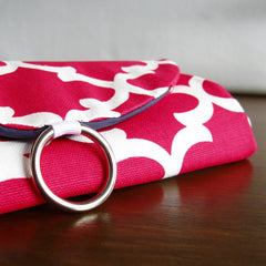 travel jewelry organizer roll clutch handmade modern pink white moroccan tile trellis print with navy lining