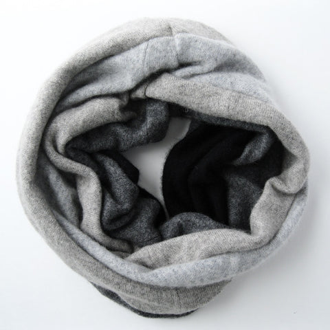 Cashmere Neck Warmer - Ombre Grey Charcoal Black
