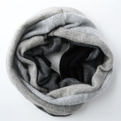 cowl scarf - Cashmere Neck Warmer - Ombre Grey Charcoal Black - effie handmade