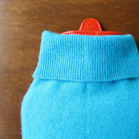 Aqua Turquoise Cashmere Hot Water Bottle Cover