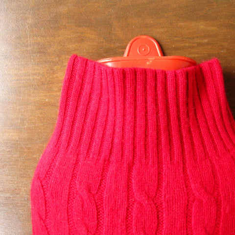 Hot Water Bottle Cozy - Red Cashmere