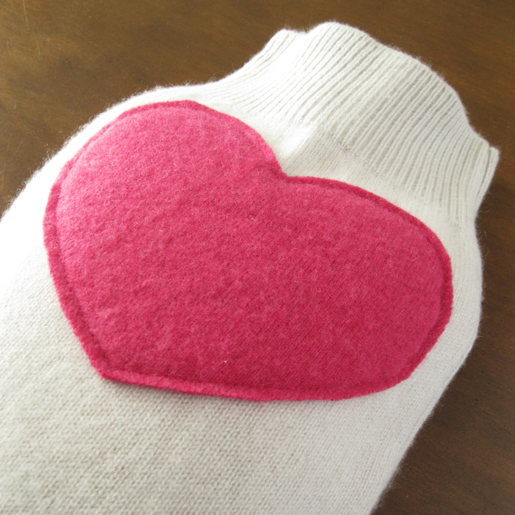 hot water bottle covers - Cashmere Hot Water Bottle Cover - Pale Gray with Pink Heart - effie handmade