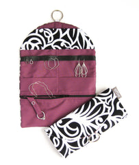Jewelry Organizer Roll Travel - Black White Scroll with Plum Purple