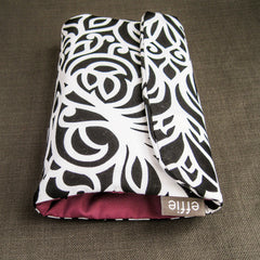 Makeup Travel Bag - Black and white scroll print - effie handmade