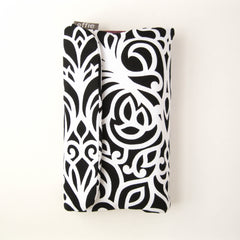 Makeup Travel Bag - Black and White Scroll