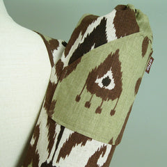 yoga mat bag green brown ikat print