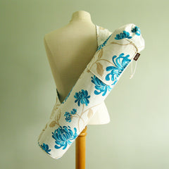 yoga mat bag by effie handmade turquoise aqua teal modern floral mums flowers