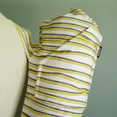Handmade yoga mat bag by effie handmade yellow and grey lines stripes scribble