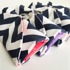 Handmade modern bridesmaid gift set of travel jewelry organizer clutches in your choice of fabrics