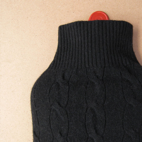 Black Cable Knit Cashmere Hot Water Bottle Cover