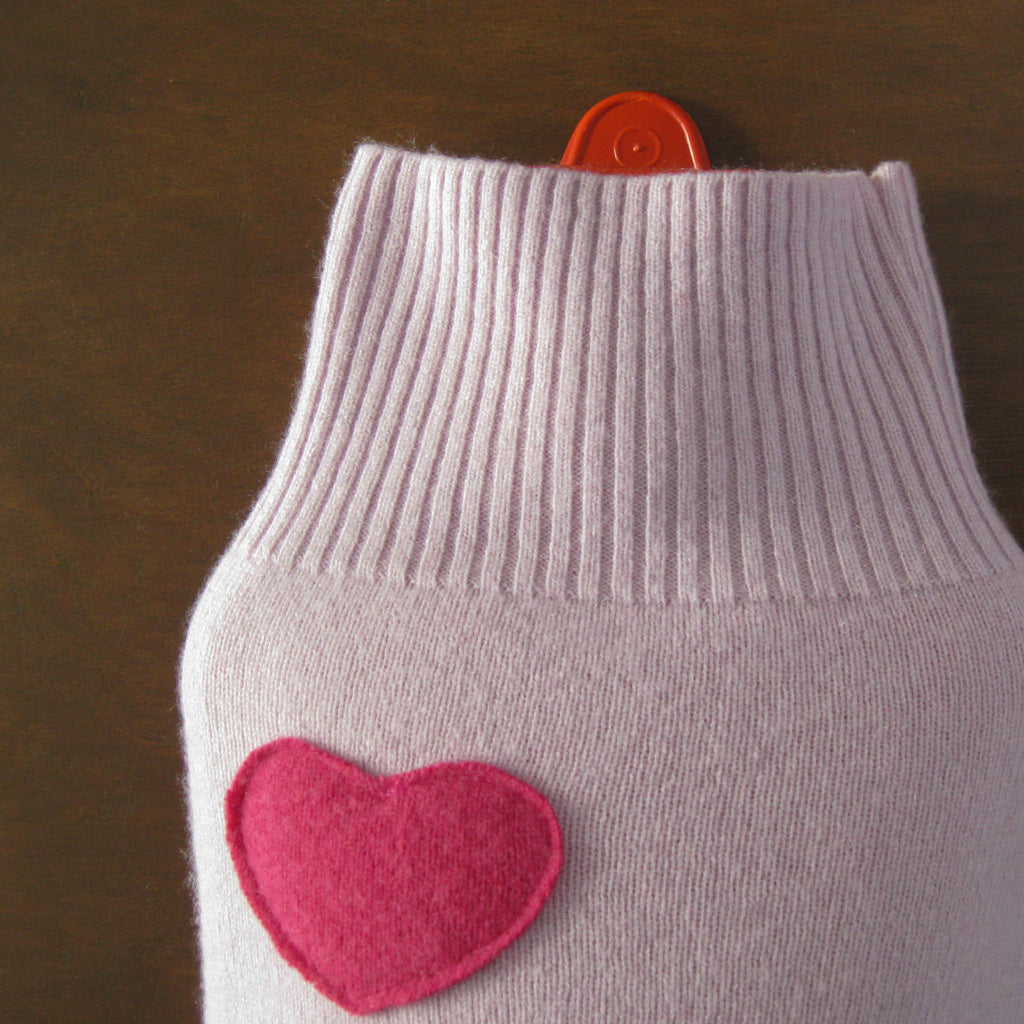 Pure Cashmere Hot Water Bottle Cover - Pale Purple with Pink Heart