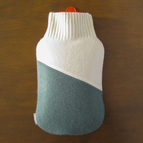 Cashmere Hot Water Bottle Cozy Cover - Cream & Sage Green
