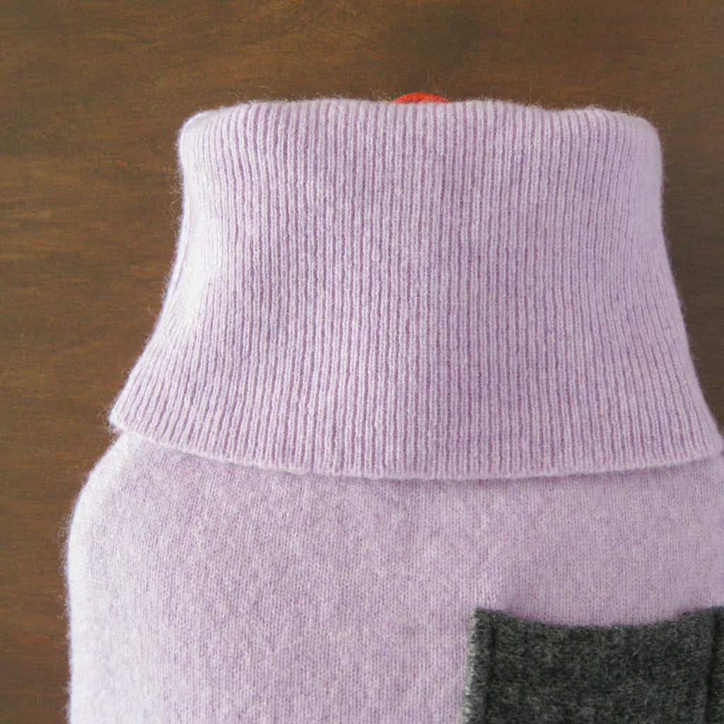 Heathered Lilac 100% Cashmere Hot Water Bottle Cover with Pocket