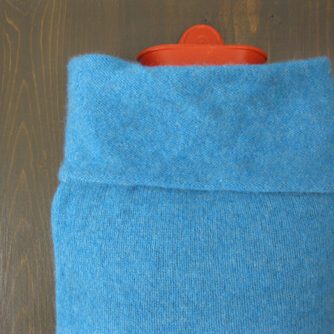 100% Cashmere Hot Water Bottle Cover - Light Blue
