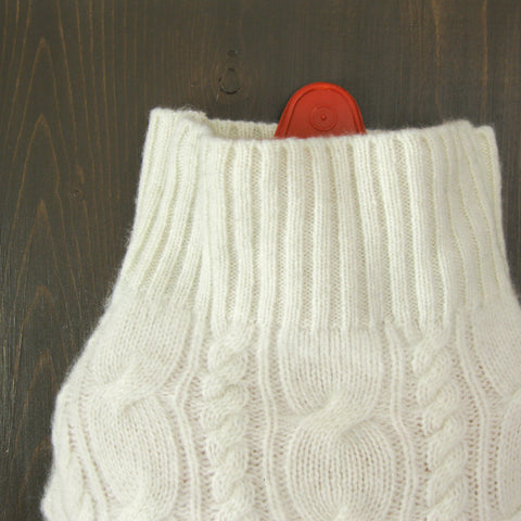 Cashmere Hot Water Bottle Cozy - Ivory Cashmere
