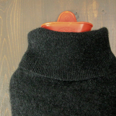 Solid Black 100% Cashmere Hot Water Bottle Cover