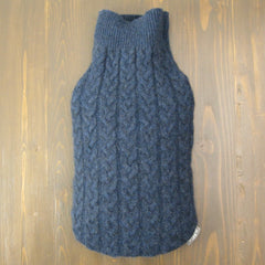 hot water bottle covers - Cashmere Hot Water Bottle Cover - Denim Blue Cable Knit - effie handmade