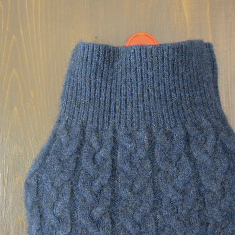 Cashmere Hot Water Bottle Cover - Denim Blue Cable Knit