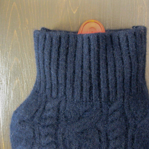 Cashmere Hot Water Bottle Cover - Navy Cable Knit
