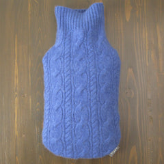 Cashmere Hot Water Bottle Cover - Periwinkle Blue Cable Knit