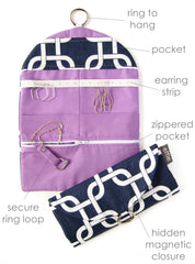 Travel Jewelry Roll Organizer Clutch - Modern Links in Navy and White with Radiant Orchid Purple
