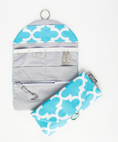 Jewelry Travel Organizer - Aqua Moroccan Tile Print with Grey