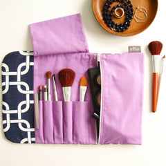 travel makeup bag - All-in-One Brush Roll & Makeup Bag - Navy with Purple - effie handmade