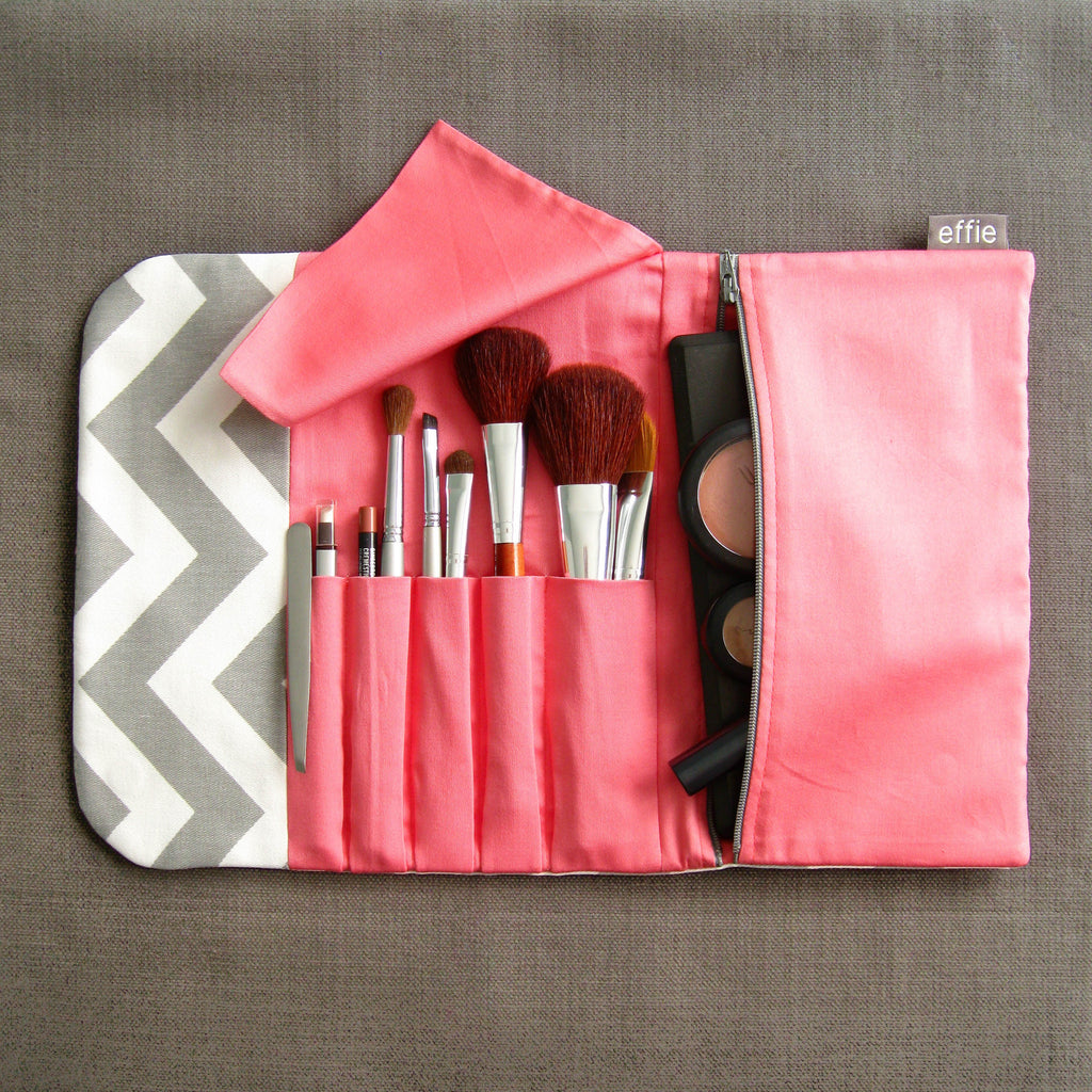 travel makeup bag - Travel Makeup Case - Grey Chevron with Coral - effie handmade
