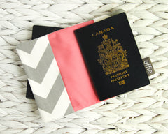 travel gift set - Travel Gift Set: Makeup & Jewelry Organizers + Passport Cover in Grey Chevron Print with Coral Lining - effie handmade