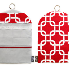 Jewelry Roll Travel Organizer Clutch - Modern Chain Links in Red and White