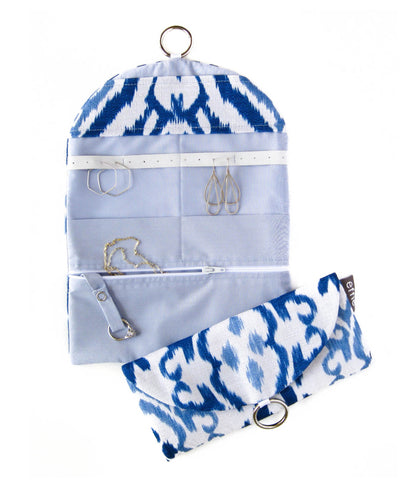 Travel Jewelry Case - Blue Ikat Print