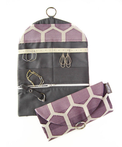 Travel Jewelry Case - Purple Ombre Hexagons with Charcoal