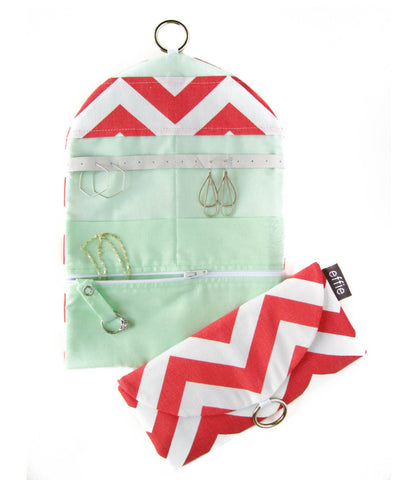 Travel Jewelry Case - Coral and White Chevron with Mint