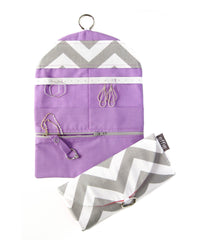 travel jewelry organizer roll clutch handmade modern grey chevron with solid color lining