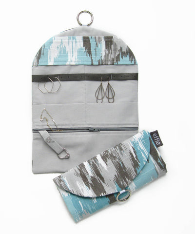 Travel Jewelry Case - Turquoise and Gray Ikat Print