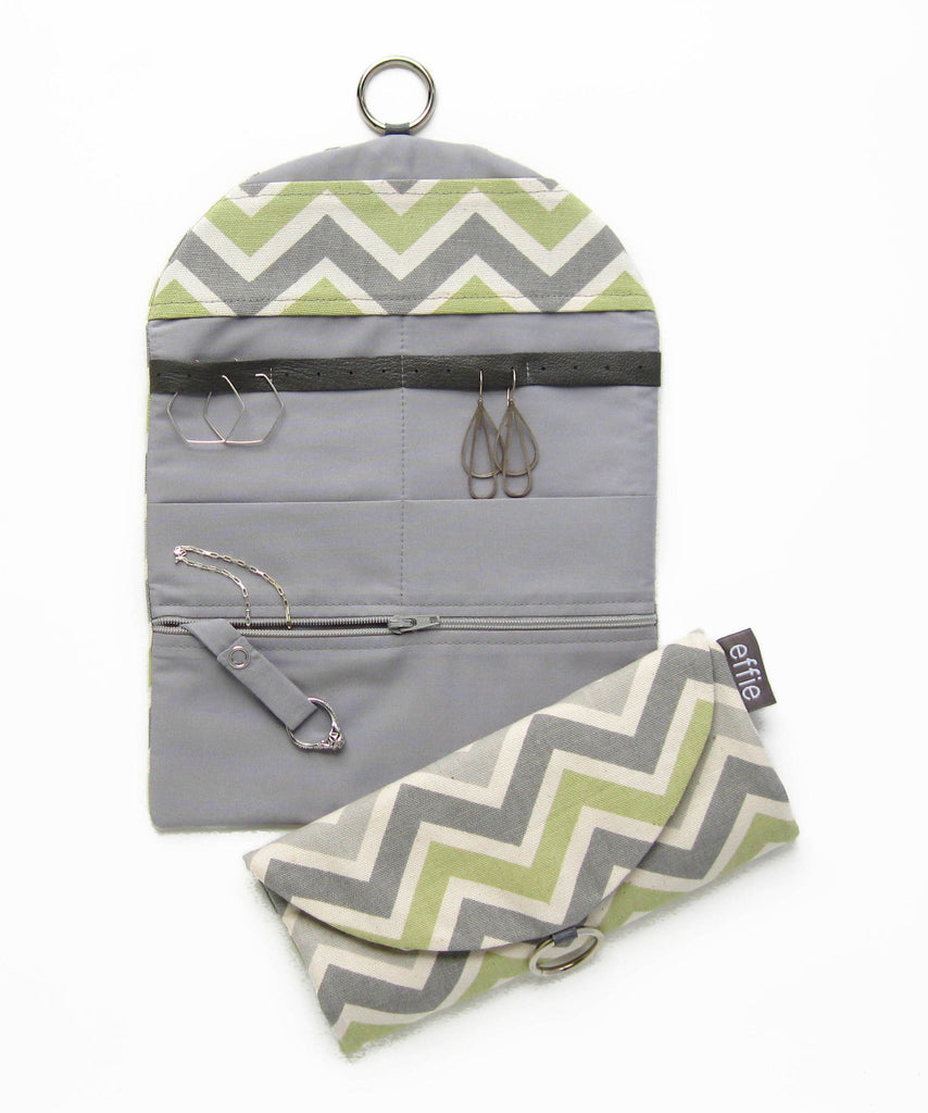 travel jewelry organizers - Travel Jewelry Case - Chevron Zigzag in Grey and Green - effie handmade
