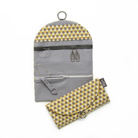 Travel Jewelry Case - Confetti Hexagons in Yellow and Grey