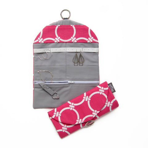 Travel Jewelry Organizer - Modern Pink Circles with Grey