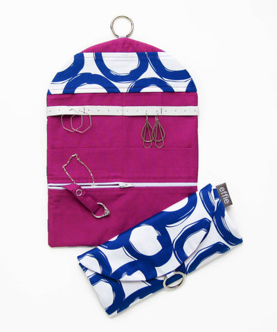 Travel Jewelry Organizer- Royal Blue Circles with Bright Purple Lining