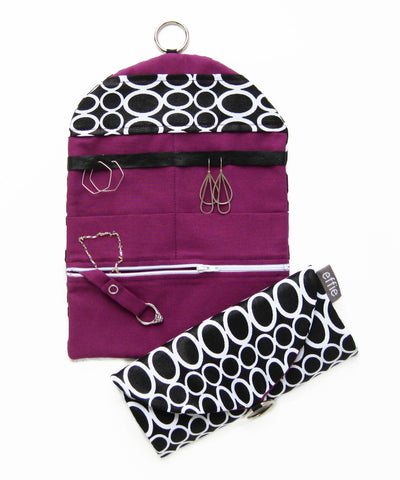 Travel Jewelry Case - Black and White Retro Circles with Dark Purple