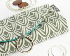 travel jewelry organizers - Travel Jewelry Case - Charcoal Scallop with Teal - effie handmade