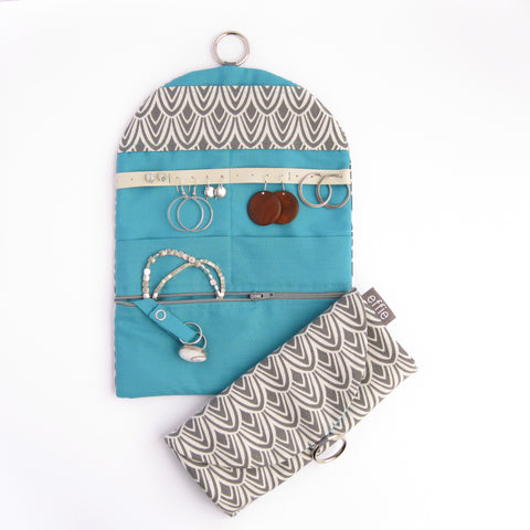 Travel Jewelry Case - Charcoal Scallop with Teal