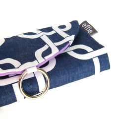 travel jewelry organizers - Travel Jewelry Case - Modern Links in Navy and White with Radiant Orchid Purple - effie handmade