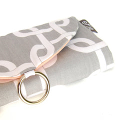 travel jewelry organizer roll clutch handmade modern grey links with solid color lining