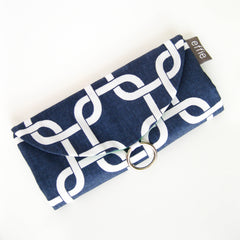 Travel Jewelry Roll Organizer Clutch - Modern Chain Links in Navy and White with Grass Green
